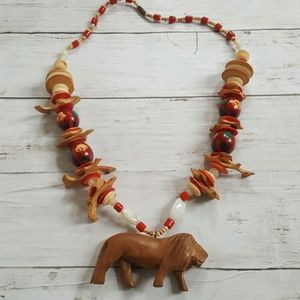 Vintage hand carved hand painted wooden necklace